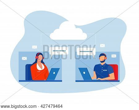 Man And Woman Operators In Headset Advising Customers Flat Style Design.call Center Workers Help Cli
