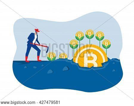 Businessman Plant Bitcoin Tree Growth Illustration Concept Vector Illustrator