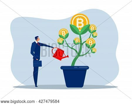 Businessman Is Watering Bitcoin Tree To Grow Business. Increasing And Growth Business Flat Concept I