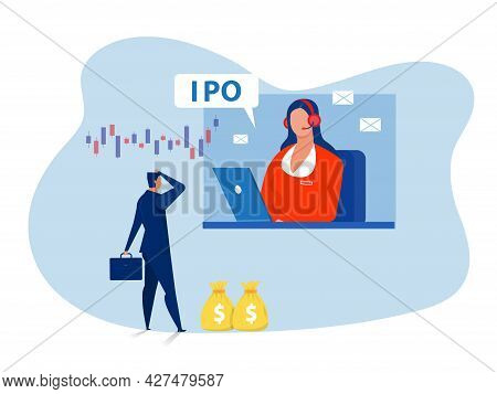 Ipo, Initial Public Offering. Businessman Offer  Investing On Laptop Concept ,flat Vector Illustrati