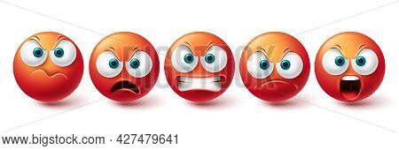 Emoji Angry Face Vector Set. Emojis Emoticon Mad, Evil, Angry And Cruel Red Icon Collection Isolated