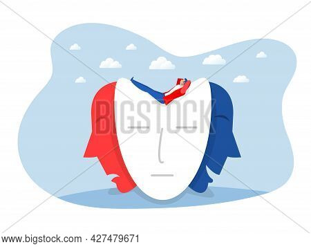 Businessman Searching Identity Masks With Happy Or Sad Expressions, Split Personality, Mood Changes,