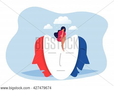 Woman Sitting On Masks With Happy Or Sad Expressions, Split Personality, Mood Changes, Bipolar Disor