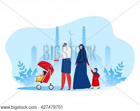 Muslim  Family Walking In Park Kid ,cartoon Characters Flat Vector Illustration.