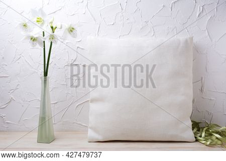 Square Cotton Pillow Mockup With White Lily Flowers In The Glass Vase And Silk Ribbons. Rustic Linen