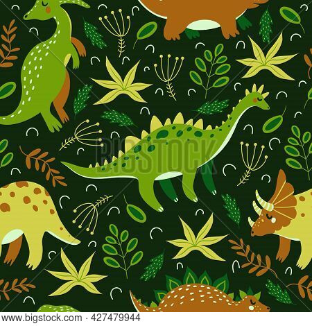 Cute Cartoon Dinosaurs Seamless Vector Pattern. Brightly Colored Reptiles Walk And Eat Grass Against