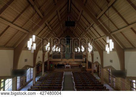 Los Gatos, California - July 21, 2021: Sanctuary of Presbyterian Church of Los Gatos Decorated for Wedding. Los Gatos, Santa Clara County, California.