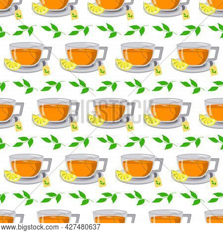 Glass Cup With Tea And Lemon Pattern. Vector. For Menus, Cafes, Wrapping Paper, Fabric Covers, Flyer