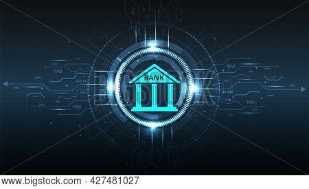 Banking Technology Design.isometric Illustration Of Bank On Geometric Technology Background. Digital