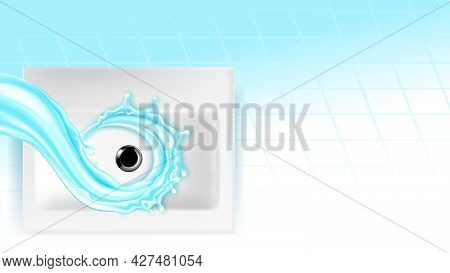Kitchen Sink With Flowing Water Copy Space Vector. Ceramic Sink With Plug Hole, Liquid Splash And Ti