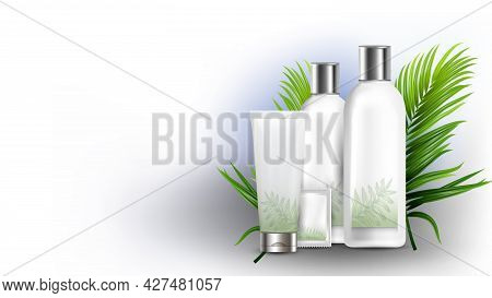 Shampoo Different Packages And Tree Branch Vector. Natural Shampoo Blank Bottle, Tube And Sachet Bag