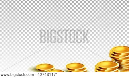 Coins Money Financial Wealth And Budget Vector. Golden Coins Treasure Earning And Invest. Finance In