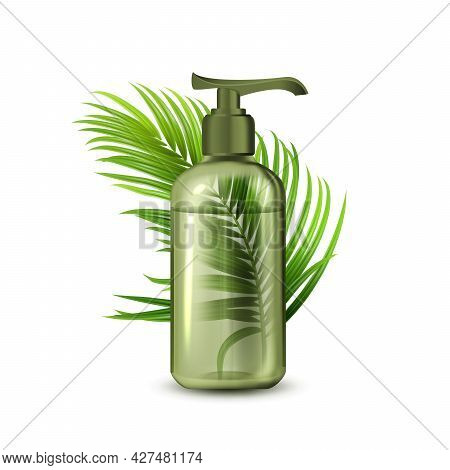 Liquid Soap Bottle With Pump And Branch Vector. Natural Organic Lotion Blank Dispenser Bottle And Tr