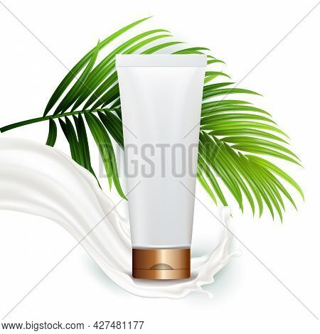 Cream Blank Tube Package And Tree Branch Vector. Organic Milky Cream Packaging, Milk Splash And Exot