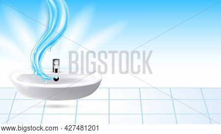 Bathroom Sink With Flowing Water Copy Space Vector. Ceramic Sink With Faucet, Liquid Splash And Tile