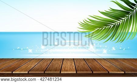 Seashore Wooden Pier, Sea And Tree Branch Vector. Seaside Wood Pier And Beach, Ocean And Plant Green