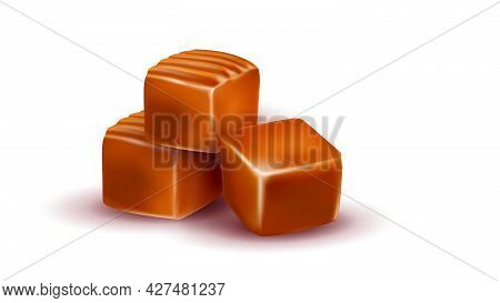 Toffee Caramel Candies Delicious Dessert Vector. Toffee Sweet Tasty Snack Pile Portion, Sweetness Nu