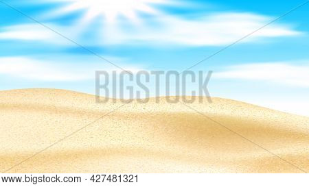 Sandy Desert With Dunes And Shining Sun Vector. Sand Desert And Sunshine In Cloudy Sky, Hot Summer W