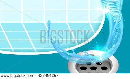 Sink Or Bath Plug Hole And Water Splash Vector. Shower Bathtub Stainless Drain Plug, Flowing Liquid