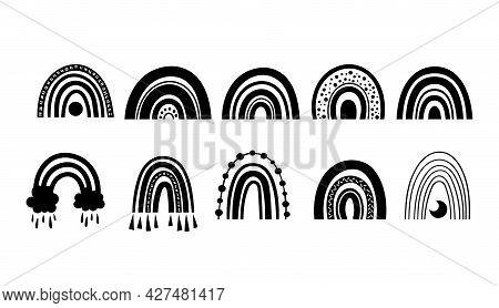 Mystical Boho Rainbow Isolated Cliparts Bundle, Black And White Rainbow Celestial Collection, Magic