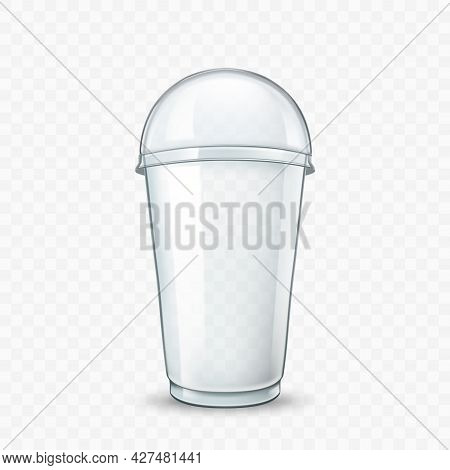 Milk Cocktail Delicious Drink Blank Cup Vector. Sweet Milk Cocktail, Smoothie Or Cold Tea Container,