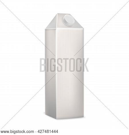 Milk Beverage Blank Carton Box Packaging Vector. Appetizing Milk Or Kephir Recycle Package, Deliciou