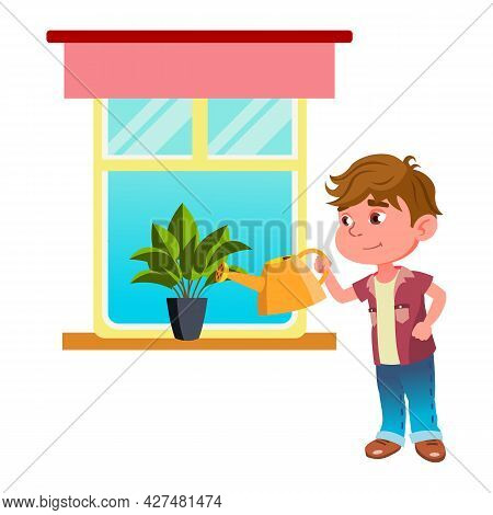 Boy Child Watering House Plant With Can Vector. Kid Watering Domestic Flower On Windowsill, Housekee