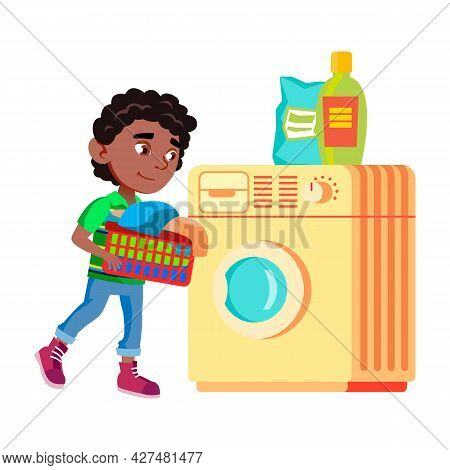 Boy Kid Doing Laundry In Washing Machine Vector. Preteen Child Prepare Clothes For Wash In Washing M