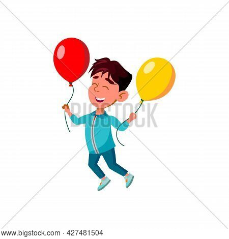 Boy Child Jumping With Helium Balloons Vector. Happiness Asian Little Kid Jump And Play With Inflate