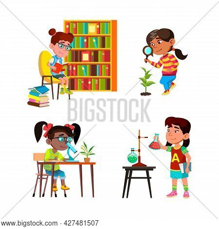 Girls Kids Scientist Study And Research Set Vector. Children Ladies Scientist Studying In Library, R