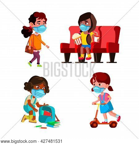 Girls Children Wearing Facial Mask Set Vector. Schoolgirls Kids Wear Protective Mask In Cinema And S