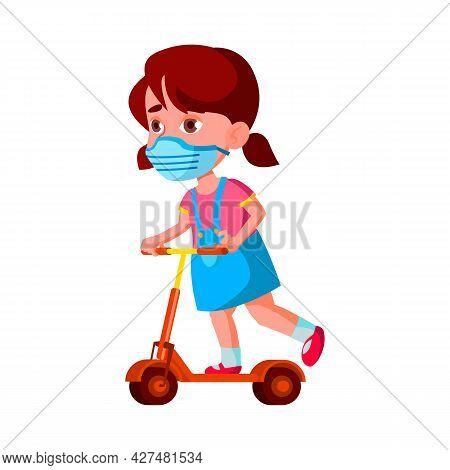 Girl Child Wear Facial Mask Riding Scooter Vector. Caucasian Preschool Child Wearing Protective Faci