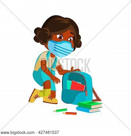 Girl Kid Collect Books In School Backpack Vector. African Schoolgirl Wearing Protective Facial Mask