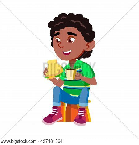 Boy Child Eating Sandwich And Drink Cocoa Vector. African Kid Sitting On Chair And Eat Healthy Tasty