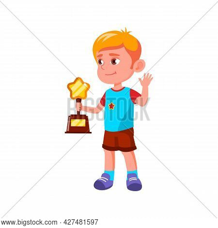 Boy Child Won Award In Sportive Competition Vector. Caucasian Preteen Kid Holding Trophy In Star For