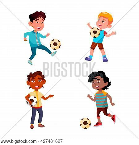 Boys Children Playing Soccer Sport Game Set Vector. Multiracial Kids Play Football Sport Game With B