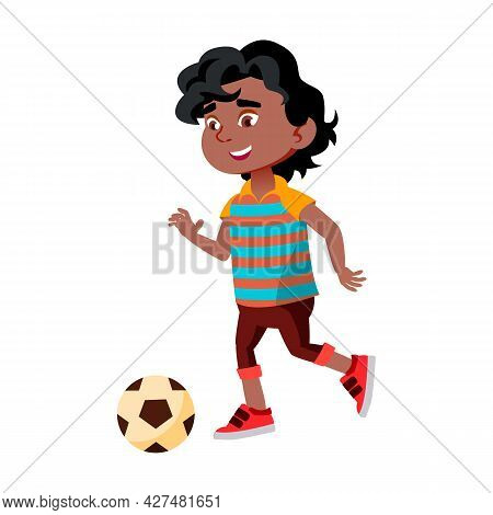 Boy Kid Kicking Soccer Ball On Stadium Vector. African Little Child Playing Football And Kick Ball O