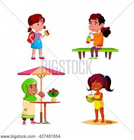 Girls Children Drinking Delicious Drink Set Vector. Kids Ladies Drinking Coconut Cocktail On Beach A