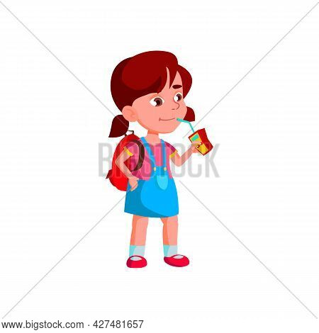 Girl Child Drink Cherry Juice From Package Vector. Schoolgirl With Backpack Drinking Juice From Pack