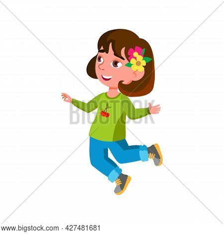 Happy Emotion Girl Kid Jumping With Smile Vector. Happiness Little Lady Child Jump And Smiling, Posi