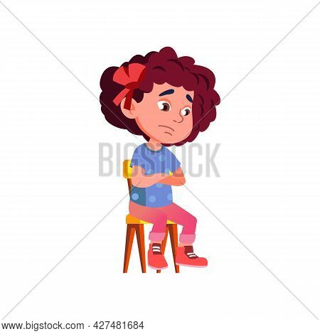 Sad Emotion Girl Child Sitting On Chair Vector. Punished Cute Little Kid With Sadness Mood Thinking