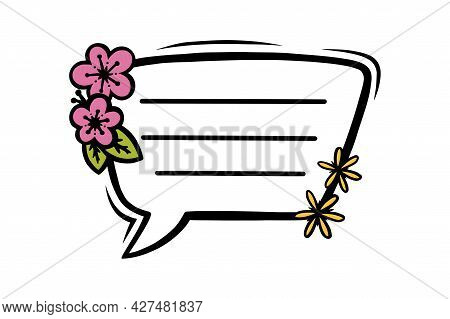 Floral Rectangular Speech Bubble Or Label For Scrapbooks Decoration. Frame With Flowers For Text Or