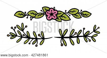 Flower Dividers For Invitations And Bullet Jourmals Decoration. Rustic Floral Dividers. Doodle Vecto