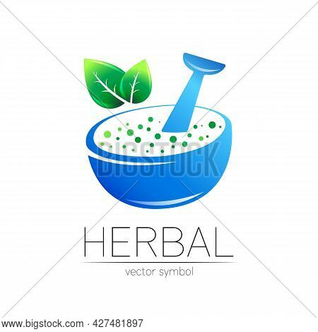 Organic Vector Symbol In Blue And Green Color. Concept Logo For Business. Herbal Sign With Leaves Fo