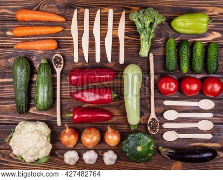 Health Vegan And Vegetarian Food Concept. Organic Vegetables. Knolling Composition. Raw Vegetables O