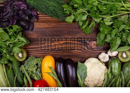 Assortment Of Fresh Organic Fruits And Vegetables. Healthy Food. Variety Of Raw Vegetables. Fresh Ve