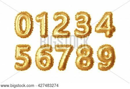 Set Of 0, 1, 2, 3, 4, 5, 6, 7, 8, 9 Numbers Of Gold Foil Balloons. Golden Realistic Numbers Balloons