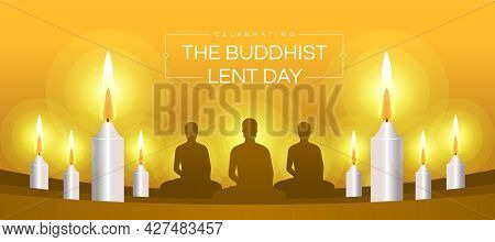 Celebrating The Buddhist Lent Day Brown Monk Meditated And White Candles Light To Pray On Yellow Bac