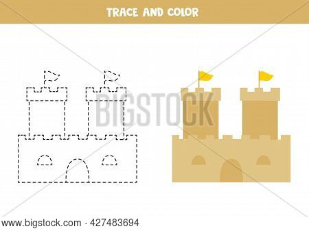 Trace And Color Cartoon Sand Castle. Educational Game For Kids. Writing And Coloring Practice.