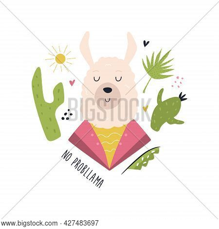 Funny Llama In Costume. Vector Composition With Floral Elements